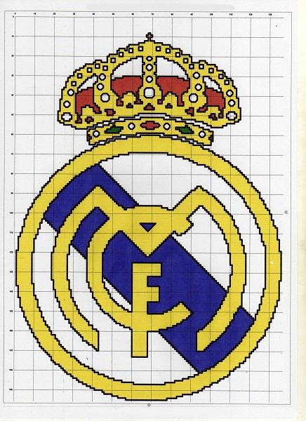 Como hacer el escudo del Real Madrid en punto de cruz - Imagui